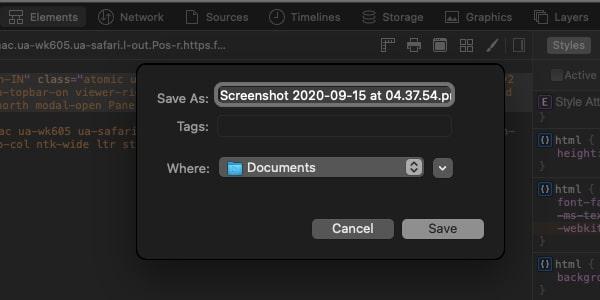 Save Scrolling Screenshot Safari Mac