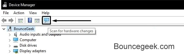 Scan for Hardware Changes Device Manager