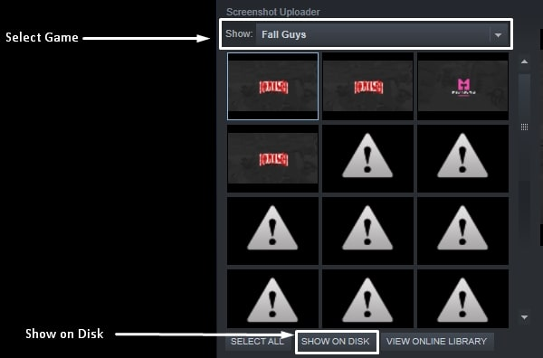 Select Game - Show on Disk Steam