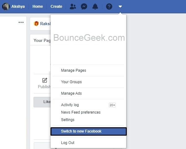 Switch to new Facebook