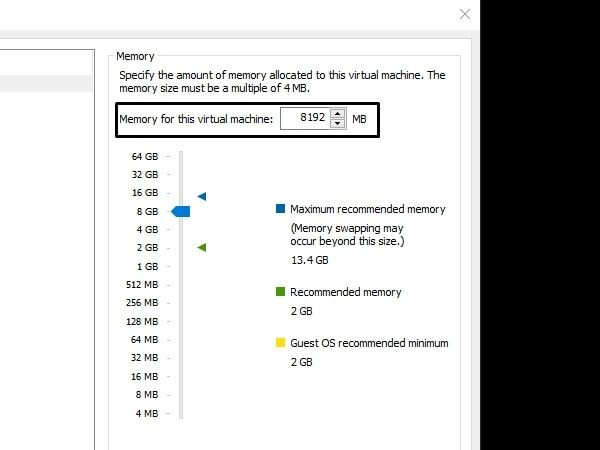 Virtual Machine Memory 8 GB macOS Big Sur Beta 10.16