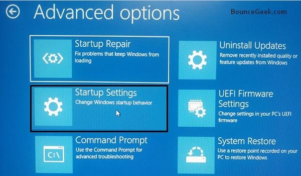 Windows Starup Settings