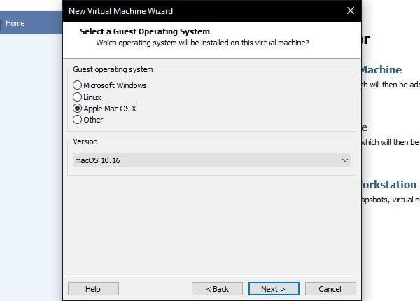 macOS 10.16 Apple mac OS X - New Virtual Macine Wizard