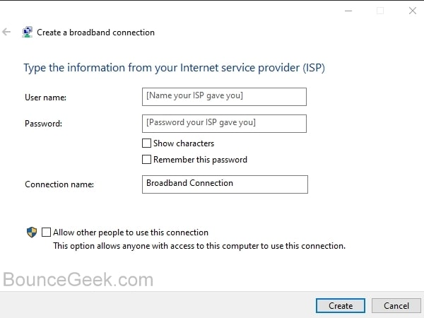 Create a broadband connection