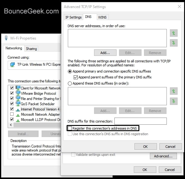 Disable Register this connection's addresses in DNS