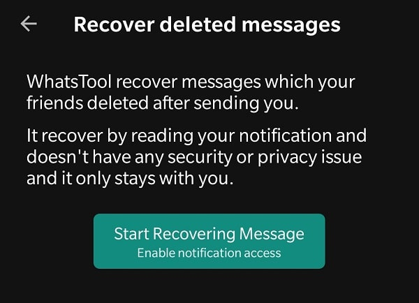 Start Recovering Message