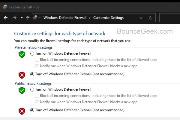 Turn off Windows Defender Firewall - Public and Private Network