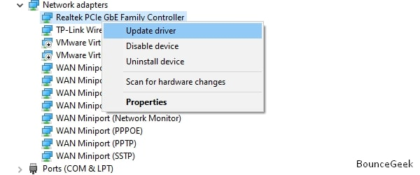 Update Ethernet Driver - Unidentified Network Windows 10