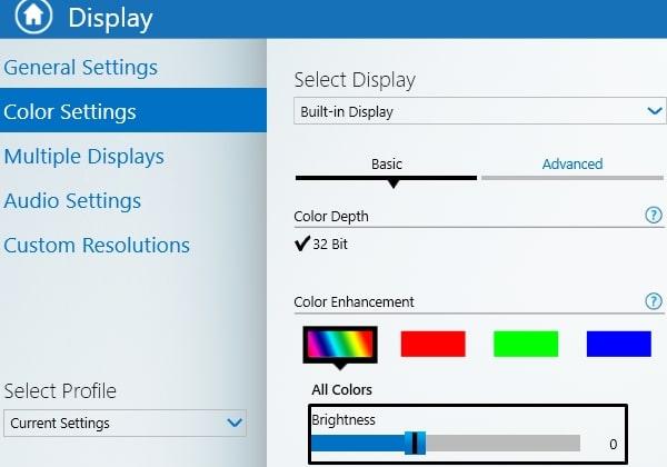 Change Brightness - Intel Graphics Control Panel