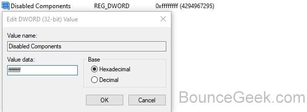 Disable IPv6 using Registry Editor