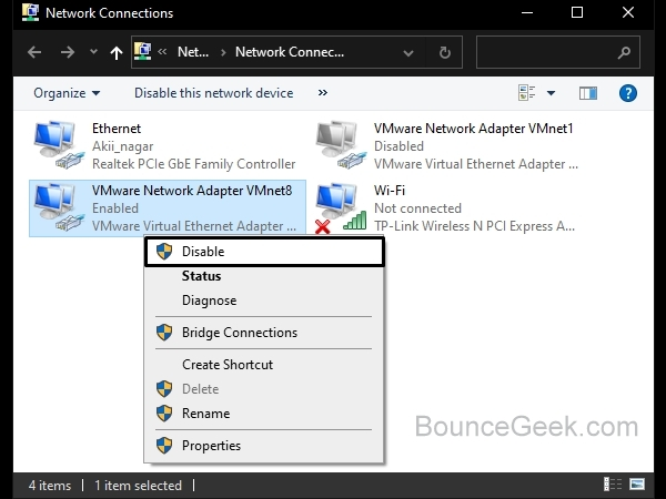 Ethernet doesn't have a valid IP configuration - Disable Virtual Ethernet Driver