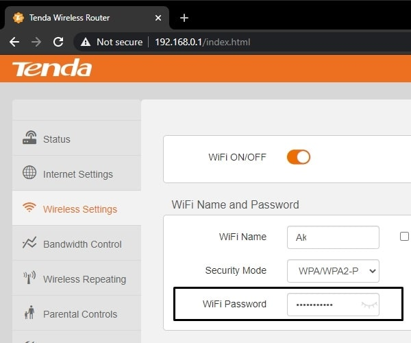 Router Wireless Settings - View WiFi Password