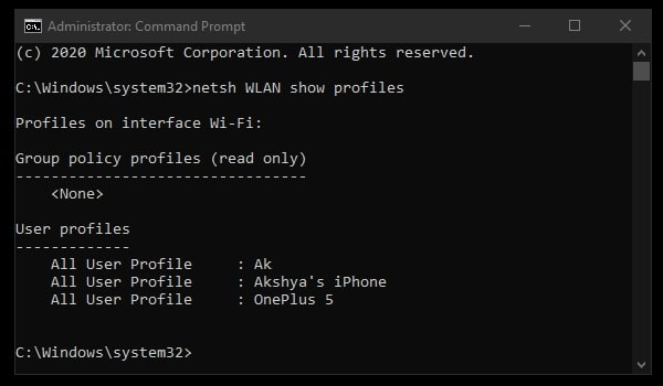 View Saved WiFi networks - CMD Command