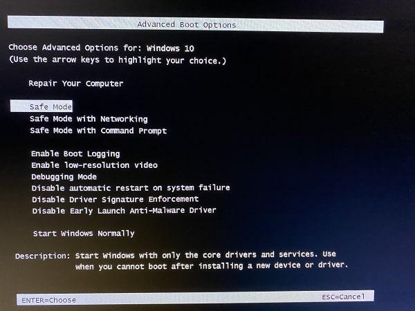 Legacy BIOS Safe Mode F8