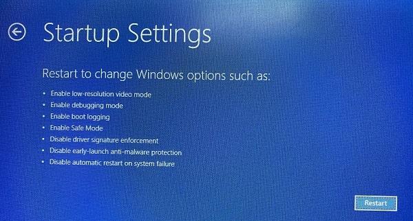 Restart Startup Settings Boot Windows 10 in Safe Mode