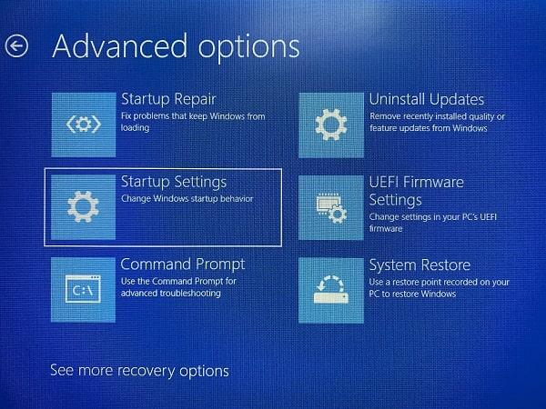 Startup Settings - Advanced Options
