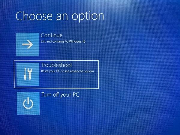 Troubleshoot - Windows RE