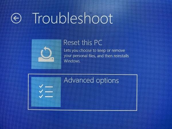 Windows Advanced Options - Troubleshoot