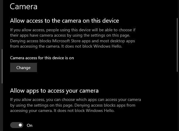 Allow the access to the camera on this device