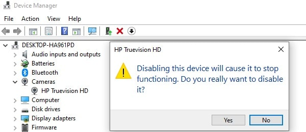 Continue Disabling Webcam