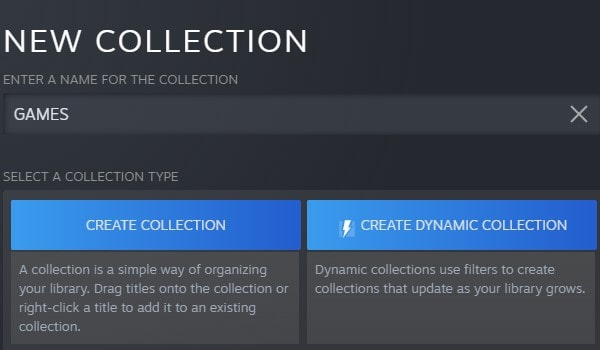 Create Collection on Steam App