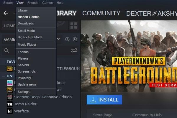 Hidden Games Option in Steam
