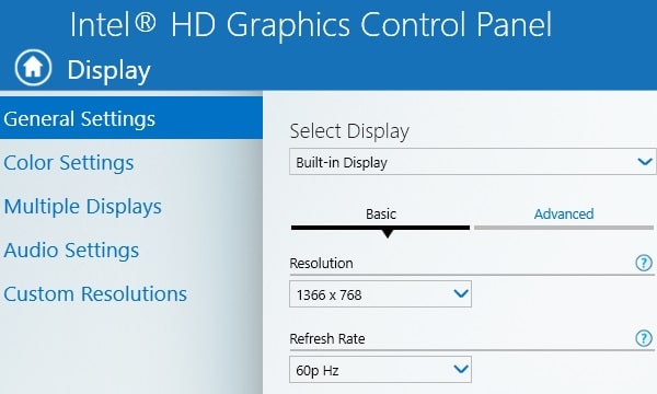 Intel HD Graphics Control Panel General Settings