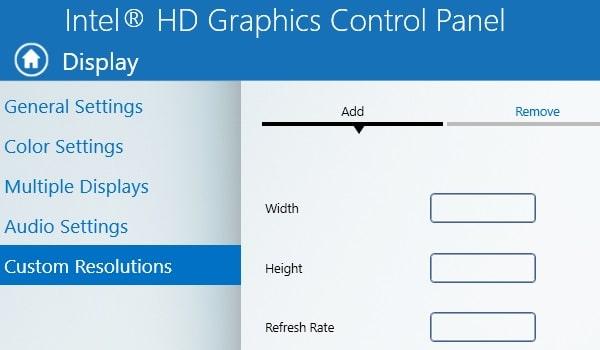 Intel HD Graphics Control Panel - Overclock Monitor Refresh Rate