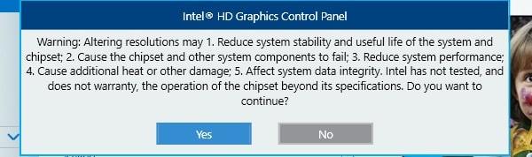 Monitor Overclock Warning - Intel Graphics Control Panel