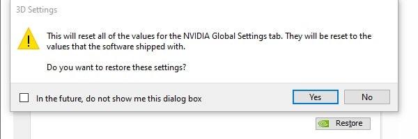 Restore NVIDIA Global Settings
