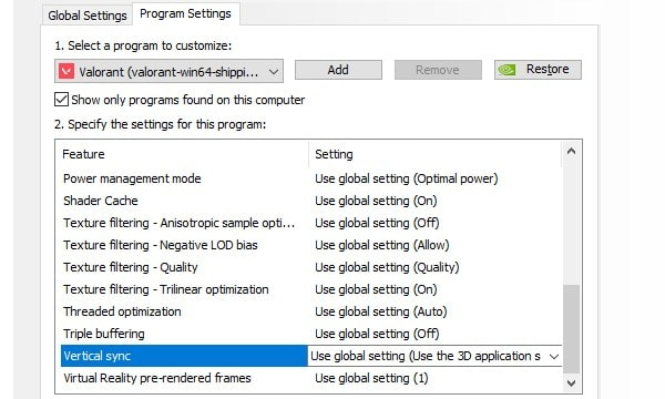 Use global settings for Valorant - Use 3D application setting
