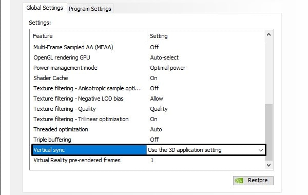 Use the 3D application setting - VSync not working in Valorant