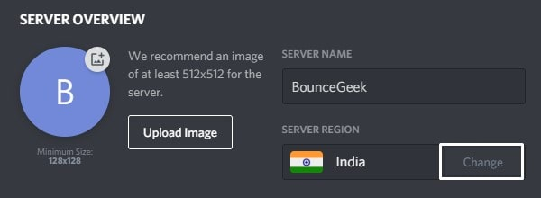 Change Server Region