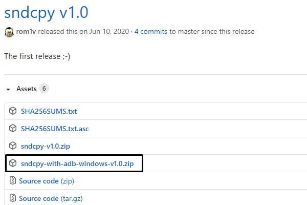 Download sndcpy with adb windows