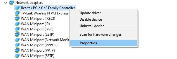 Ethernet Adapter Properties