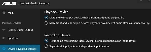 Realtek Audio Console Settings