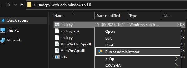 Run SndCpy as administrator
