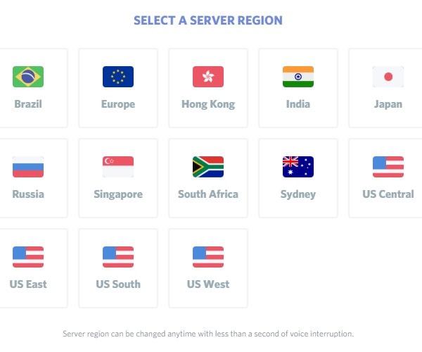 Select a Discord Server Region