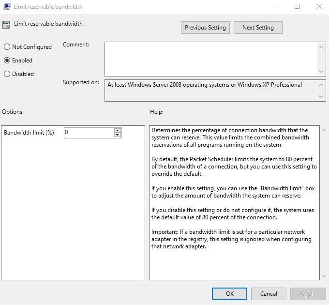 Limit reservable bandwidth - Windows 10 slow internet