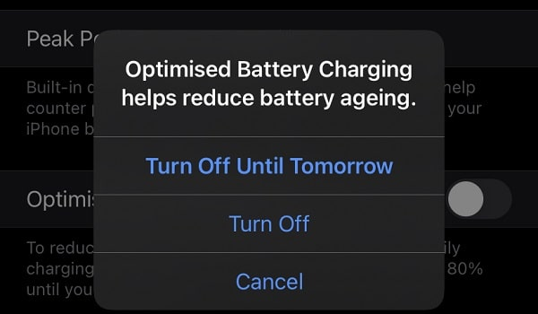 Turn Off Optimized Battery Charging to fix iPhone stops charging at 80% battery